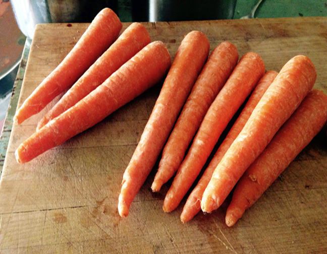 Start with whole, organic, carrots, (don't peel them).